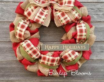 christmas wreath holiday wreath plaid wreath seasonal wreath burlap wreath christmas burlap wreath - Christmas Burlap Wreath