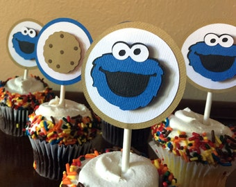 Cookie Monster Party Cupcake Toppers, Cookie Monster Birthday Party, Sesame Street Cupcake Toppers, Cookie Monster 1st Birthday, Set of 12