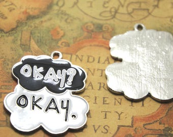 2pcs Okay Okay Charms Silver Tone Fault in Our Stars charms pendants 43x35mm AD0771