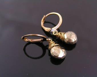 Pyrite Earrings, Fools Gold Earrings, Hoop Earrings, Wire Wrapped Jewelry, Small Earrings, Pierced Ears, Gem Jewelry, Gem Earrings, E2390