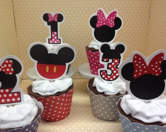 Mickey and Minnie Mouse Party Cupcake Topper Decorations - Set of 10