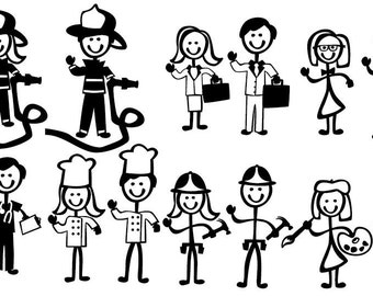 Stick Figure People Family (Occupational Themed) - Vector Art SVG Files