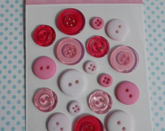 Buttons Pink 18 pcs Assorted