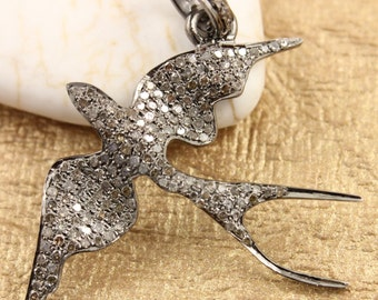 Pave Diamond Pendant, Pave Dove Pendant, Diamond Dove Pendant, Pave Bird Necklace, Pave ArtDeco, Pave Connector, Oxidized Silver.(DCH/CR281)