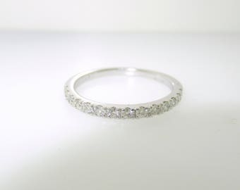 Diamond Wedding Band, Half Eternity Ring, Anniversary Ring, Stackable Ring 0.28 Carat 14k White Gold Handmade