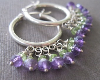 Amethyst Peridot Sterling Hoop Dangle Birthstone Earrings- Sample Sale