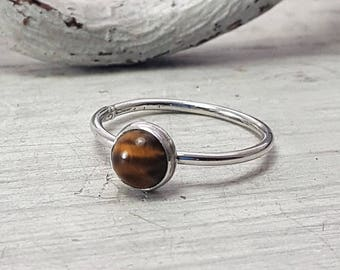 Tigers Eye Ring Yellow Tigers Eye Stacking Ring 6mm Tigers Eye Sterling Silver Ring