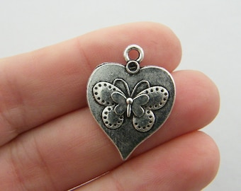 BULK 30 Butterfly charms antique silver tone A324