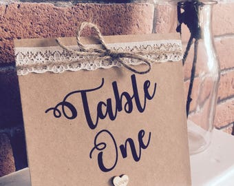 Rustic Vintage Inspired Lace and Twine Square Table Number