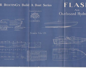 Vintage Motor Boat Ship Vintage Blueprint c.1940s Outboard Hydroplane Nautical Art Urban Industrial Decor