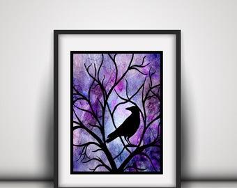 Black Raven Gift - Raven Gift Art - Raven Crow Art - Bird Lover Gift - Goth Art Gift - Black Crow Raven - Raven Art Gift