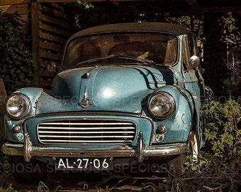 urban exploration, photography, Vintage car, Morris,  Urbex, art print, abandoned place, Oldtimer, English vintage car, Vintage decay, blue