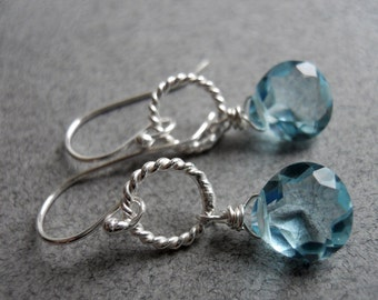 Aquamarine blue earrings, Just a Schpritz of Aqua Single Drop Earrings, quartz earrings, hoop earrings, gemstone earrings, dangle earrings