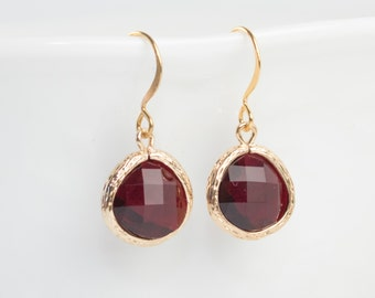 Garnet Gold Earrings, January Birthstone Gold Earrings, January Garnet Earrings, January Birthstone Jewelry, Gold Earrings, Gold Earrings
