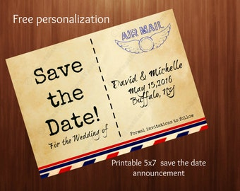 Printable, Save the date, wedding announcement, vintage airmail, rustic,5x7 wedding, travel, vintage, old