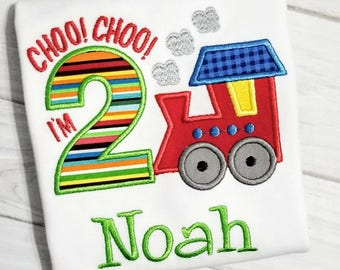 2nd Birthday Train Shirt -  Choo Choo I'm 2 Birthday Shirt - Embroidered and Personalized Boy Birthday Shirt