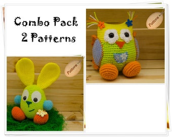 Crochet Patterns Bundle: Amigurumi Owl and Bunny, Crochet Patterns Pack, Amigurumi PDF Pack Owl and Bunny, Special Offer Crochet Patterns