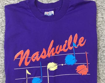 Vintage Nashville TN Music City USA Purple Music Notes SS Graphic T-Shirt