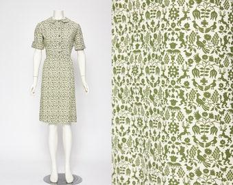 green novelty print dress vintage 1960s • Revival Vintage Boutique