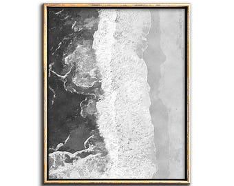 Aerial Beach Print, Ocean Print, Modern Coastal Decor, Prints, Black and White Coastal Print, Printable Art, Modern Watercolor Painting, Art