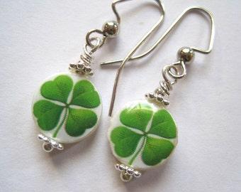 4-Leaf Clover for Luck.  Petite Mother of Pearl Shell Earrings. Handmade. Hope, Faith, Love & Hope.