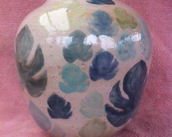 Leaf motif stoneware vase