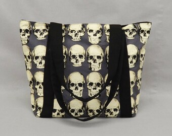 Realistic Skulls Zipper Tote Bag with Pockets, Punk Rock, Goth, Horror Fan, Fabric Shoulder Bag, Canvas Liner, Gray Black Cream