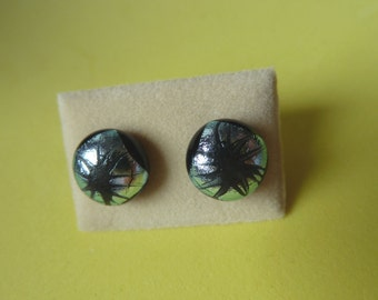 Dichroic Glass Stud Earrings Surgical Steel Hypoallergenic Silver & Black Handmade Hand Painted