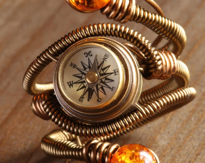 Steampunk Ring, Compass Ring, Amber ring, Adjustable Size 9 to 13 US - Amber colored stone