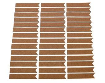 Kraft Sticker - QTY: 50 - Blank Sticker - Kraft Label - Blank Label - Flag Sticker - Wedding Favor Sticker - Envelope Seal - 2.75 x 0.5 in.