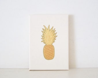 PINEAPPLE - Ivory & Gold Pineapple PAINTING - Gold Pineapple Art - Pineapple Wedding Sign - Pineapple Housewarming Gift - Pineapple Gift Art