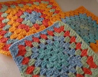 100% cotton granny square potholders/washcloths