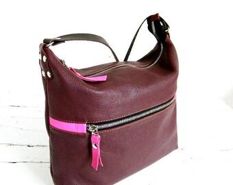 Women's leather crossbody bag Clutch bag with strap Wine color shoulder bag Rivet handbag Long strap travel crossbody purseGift her