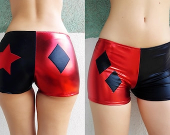 Harley Quinn Inspired Shorts. Black and Red, Diamond and star at the back. Metallic, shiny, boy shorts. Cosplay hot pants. Halloween costume