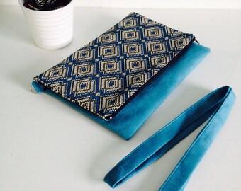 Turquoise ethnic flap pocket