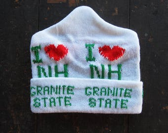 Vintage Granite State Knit Hat New Hampshire NOS White Winter Beanie 1980s Deadstock