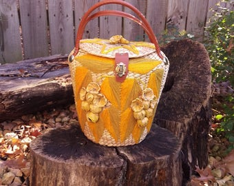 Wicker Straw Basket Purse Handbag with Yellow Leaves and Wicker Flowers