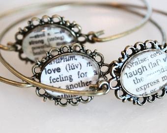 Personalized Bracelet, Custom Bangle Bracelet, Inspirational Bracelet, word bangle, Dictionary word bracelet, gifts for her
