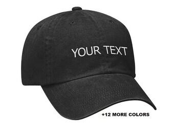 CUSTOM TEXT Garment Washed Hat | Black Hat, Custom Embroidered Washed Hat, Custom Hat, Personalized Hat, Unstructured Hat, Dad Hat