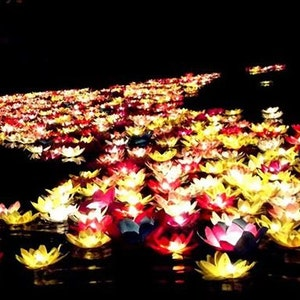 10 Pcs Romantic Candle Water Lantern For Wedding Party ,water Garden  Artificial Water Plant Floating
