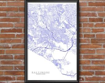 Baltimore, Maryland Map Art (Baltimore Ravens)