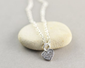 Sterling Heart Charm Necklace, Bridesmaid Gift, Love, Valentine