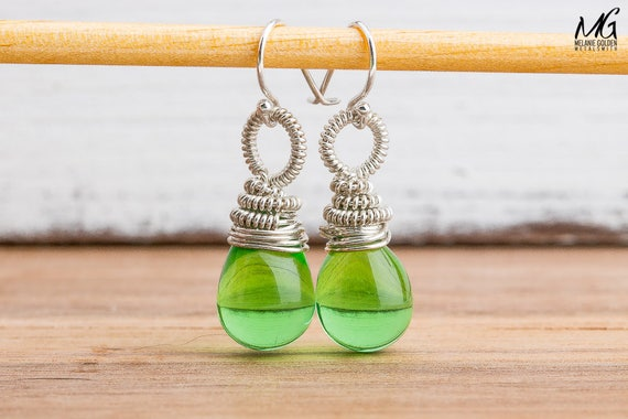 Lime Green Wire Wrapped Czech Glass Dangle Drop Earrings in Sterling Silver