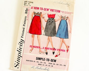 """Vintage 1960s Girls Size 8 Sub-Teen Knee Length A-line Skirt Simplicity 5583 Sewing Pattern Complete, w23"""""""