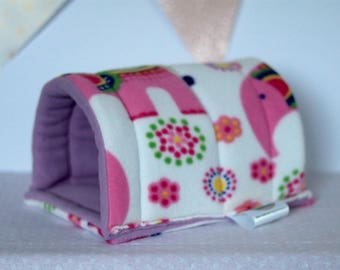 Elephant Print Guinea Pig/Hedgehog Fleece Tunnel - fully lined