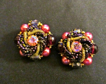 Vintage Cranberry Aurora Borealis Crystal and Pearl Cluster Clip On Earrings