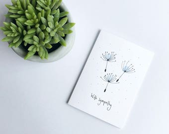 Dandelion seed sympathy card. Sympathy card. Dandelion card. With sympathy card. Condolences card. Blank card. Thinking of you card.