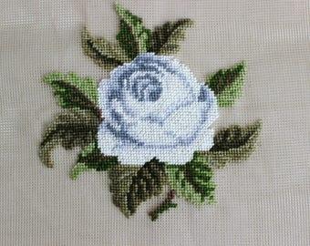Vintage Preworked Needlepoint Canvas White Rose Flower
