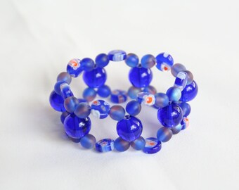Cobalt Glass Beaded Stretchy Bracelet Team