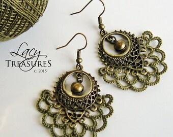 Bohemian Chandelier Earrings, Earthy Hippie, Tribal Jewelry, Lace Filigree Earrings, Gypsy Dangles, Large Chandeliers, Antique Bronze, Gift